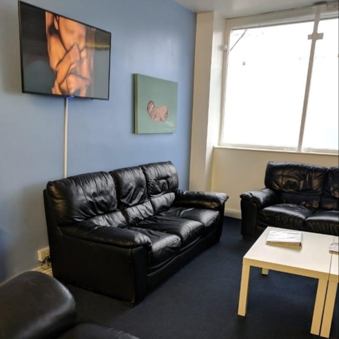 sofa in waiting room